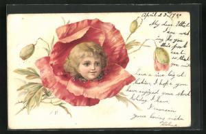 AK Portrait eines Mädchens in einer Mohnblume