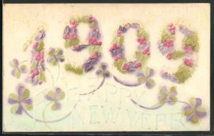 Präge-AK Jahreszahl 1909 aus Blumen