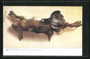 AK Jagdstillleben, Hase und Wildvögel