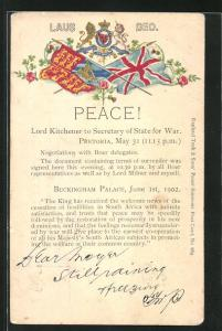 Präge-Lithographie Peace! - Lord Kitchener to the Secretary State for War, Burenkrieg