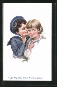 Künstler-AK An Important Naval Communication, kleiner Matrose und Mädchen