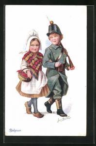 Künstler-AK Belgium, kleiner Soldat und Mädchen in Tracht