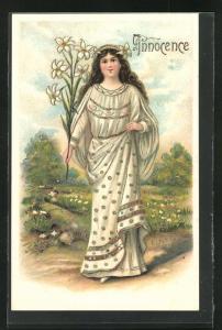 Präge-AK Innocence, Junge Dame im edlen Kleid mit Blumen