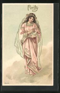 Präge-AK Purity, Junge Dame mit Schleier hält eine weisse Taube