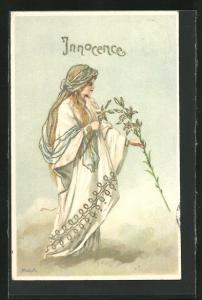 Präge-AK Innocence, Junge Dame auf einer Wolke pflückt Blumen