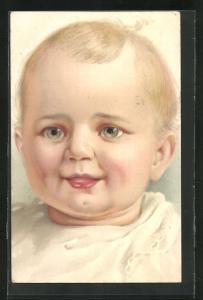 AK Baby mit blauen Augen und Latz