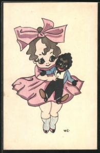 AK Mädchen mit Schleife hält eine Puppe