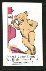 AK Teddybär am Telefon, What ! Come Home?...