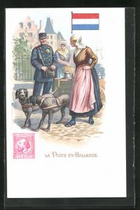 AK Niederlande, Briefträger bringt die Post, Niederländische Flagge, Briefmarke