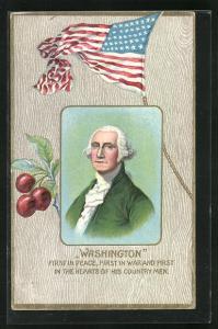 Präge-AK George Washington, Präsident der USA, Halbportrait mit weisser Perücke, Amerikanische Flagge