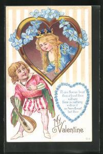 Präge-AK Valentinstag, Mädchen mit Krone im Herz und Jüngling mit Laute, My Valentine