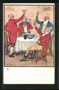 AK Jagd Gesellschaft beim Feiern, vier Herren prosten sich zu, A Hunting we will go