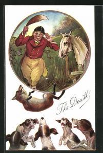 AK Jagd, Jäger mit Fuchsschwanz mit Pferd, Fuchs fällt auf Hundemeute