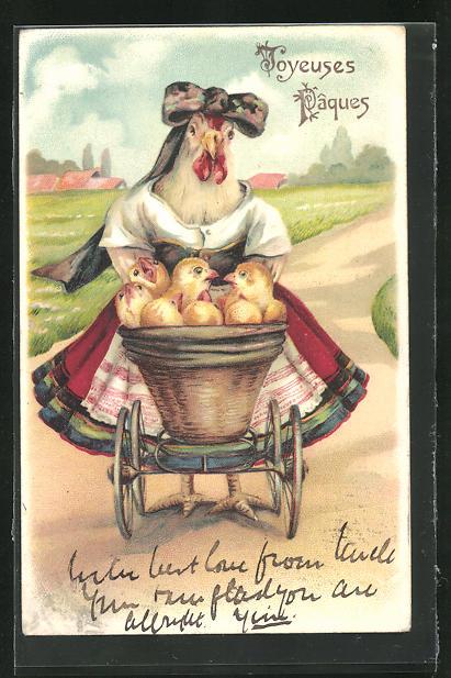 Präge-Lithographie Joyeuses Pâques, Henne mit Osterküken in Kinderwagen