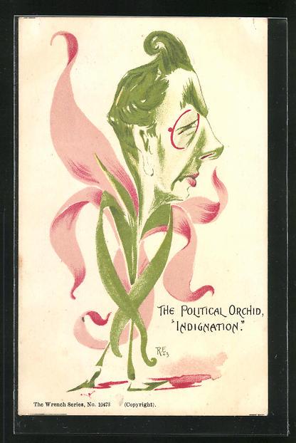 Künstler-AK The Political Orchid - Indignation, Chamberlain, Karikatur