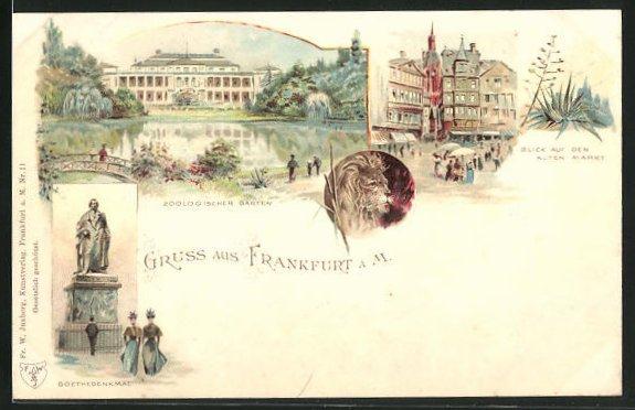Lithographie Frankfurt a. M., Zoologischer Garten, Blick auf den Alten Markt