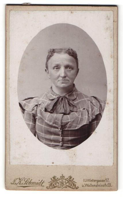 Fotografie J. K. Schmidt, Wien, Portrait betagte Frau mit zeitgenöss. Frisur