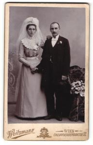 Fotografie Weitzmann, Wien, Portrait Braut und Bräutigam, Hochzeit