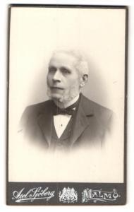 Fotografie Axel Sjöberg, Malmö, Portrait älterer Herr mit Backenbart