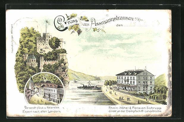 Lithographie Assmannshausen am Rhein, Rhein-Hotel & Pension Schrupp, Versandt-Haus und Kellereien
