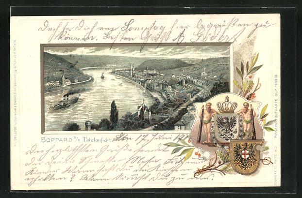 Passepartout-Lithographie Boppard, Panoramablick auf den Ort am Rhein, Wappen