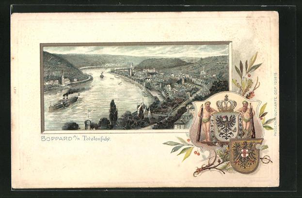 Passepartout-Lithographie Boppard, Panoramablick auf die Ortschaft am Rhein, Wappen