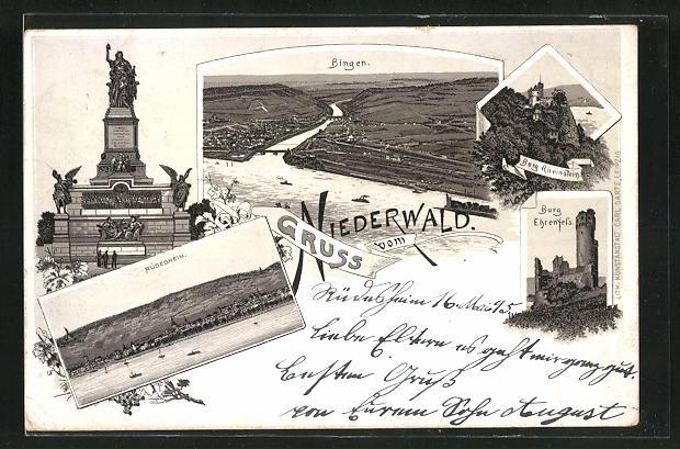 Vorläufer-Lithographie Bingen, 1895, Panoramablick auf die Ortschaft, Niederwalddenkmal, Burg Rheinstein