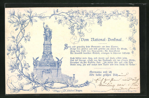 Vorläufer-AK Nationaldenkmal auf dem Niederwald, 1893, Vers über das National-Denkmal