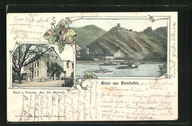 AK Bornhofen, Hotel und Pension von N. Morbach, Dampfer auf dem Rhein