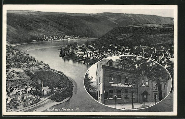 AK Filsen, Gasthof zum Winzerhaus, Panoramablick auf den Ort am Rhein
