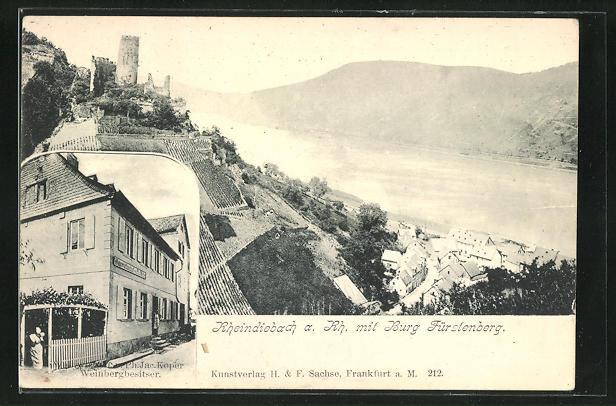 AK Rheindiebach, Gasthaus und Kelterei Kober, Panorama mit Burg Fürstenberg