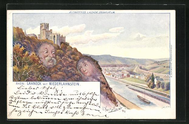 Künstler-AK Lahneck, Panorama mit Niederlahnstein und Rhein, Berg mit Gesicht / Berggesichter