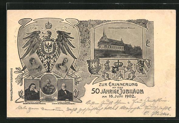 AK Ganzsache Bayern PP7C49 /02: Nürnberg, 50 jähr. Jubiläum des Germanischen National-Museums 1902, Prinzregent Luitpold
