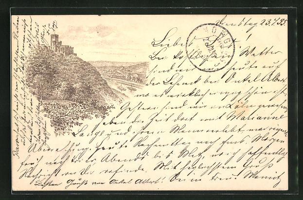 Vorläufer-Lithographie Kaub, 1895, Panorama mit Burg Gutenfels und Rhein