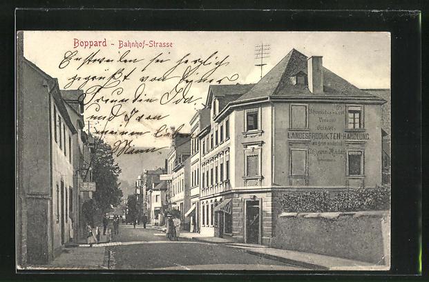 AK Boppard, Blick in die Bahnhof-Strasse