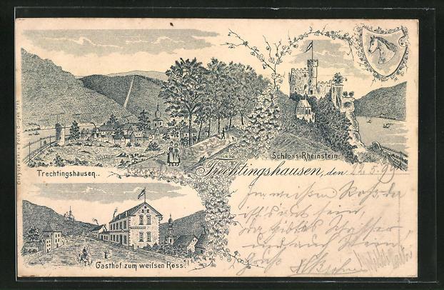 Lithographie Trechtingshausen, Gasthof zum weissen Ross, Schloss Rheinstein