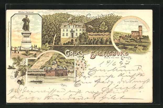 Lithographie Oberwesel, Hotel zur Engelsburg, Ruine Gutenfels, Blücher-Denkmal