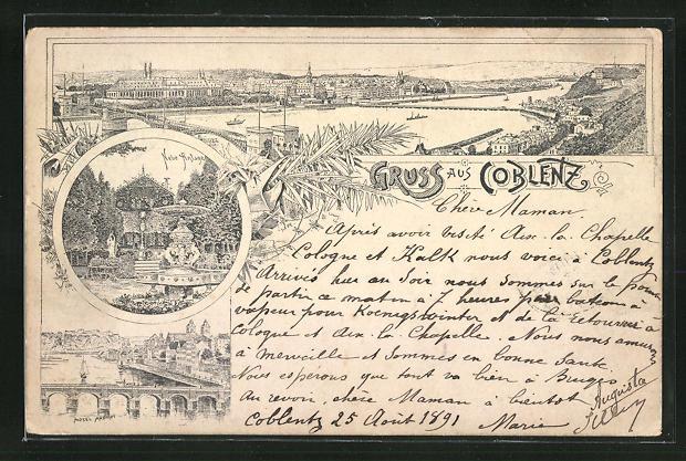 Vorläufer-Lithographie Coblenz, 1891, Neue Anlage, Moselansicht mit Brücke, Panoramablick auf die Stadt