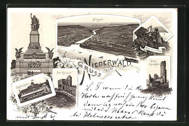 Vorläufer-Lithographie Bingen, 1894, Niederwalddenkmal, Jagdschloss, Die Rossel, Burg Ehrenfels
