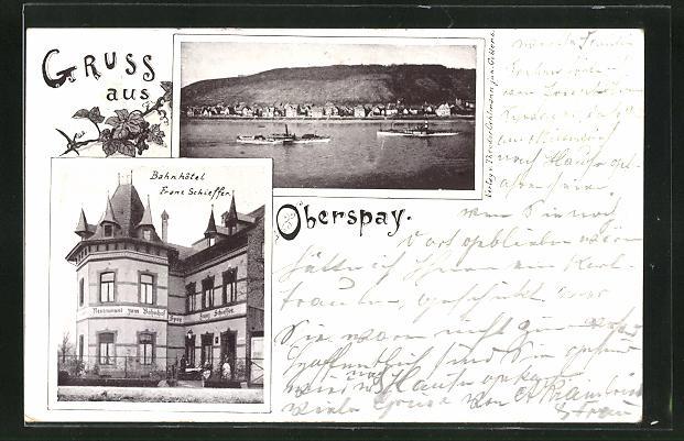 AK Osterspai, Bahnhotel von Franz Schieffer, Dampfer passieren den Ort am Rhein