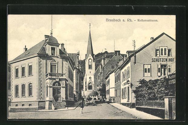 AK Braubach, Rathausstrasse mit Gasthaus Schützenhof