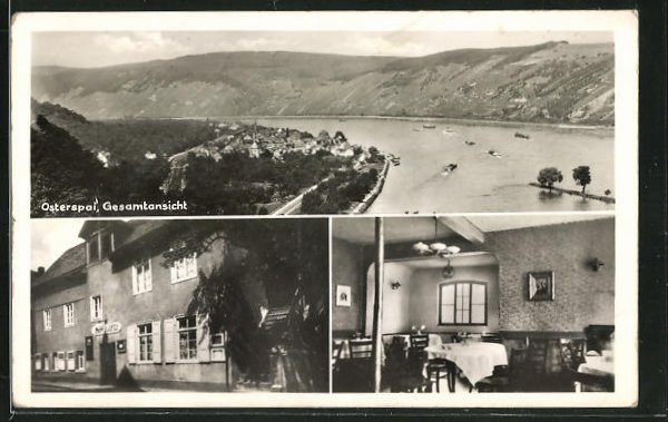 AK Osterspai, Ansichten vom Gasthaus Anker, Panoramablick auf Ort und Rhein