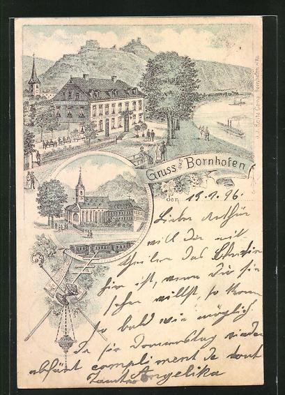 Lithographie Bornhofen, Blick auf das Hotel Liebenstein, Ansicht vom Kloster