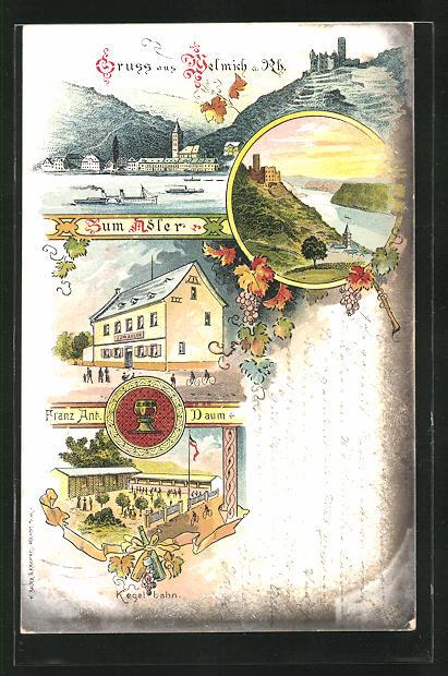 Lithographie Welmich, Gasthaus zum Adler mit Kegelbahn