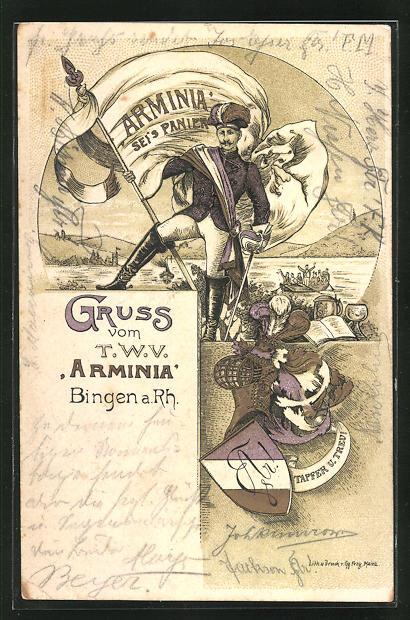 Lithographie Bingen, Studentenwappen und Student der Burschenschaft Arminia