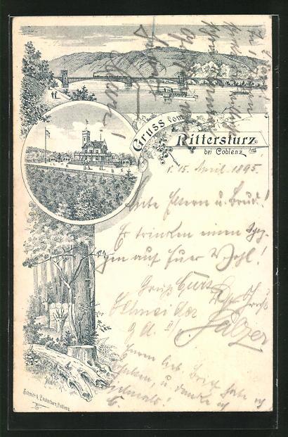 Vorläufer-Lithographie Koblenz, 1895, Gasthaus zum Rittersturz, Dampfer auf dem Rhein