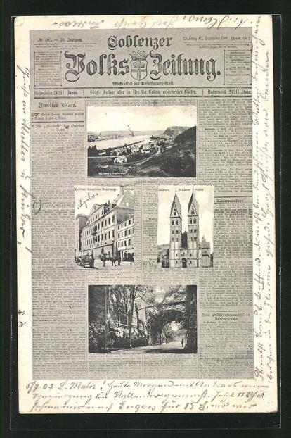Zeitungs-AK Koblenz, Ansichten auf Coblenzer Volks-Zeitung, St. Castor-Kirche, Königl. Regierungs-Gebäude