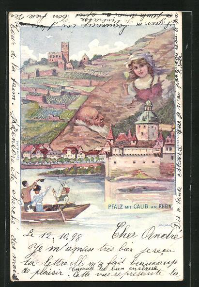 Künstler-AK Schwenke Serie 6 Nr. 6: Caub a. Rh., Panorama mit Pfalz, Berg mit Gesicht / Berggesichter
