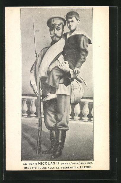 AK Zar Nikolaus II. von Russland mit dem Zarewitsch Alexei