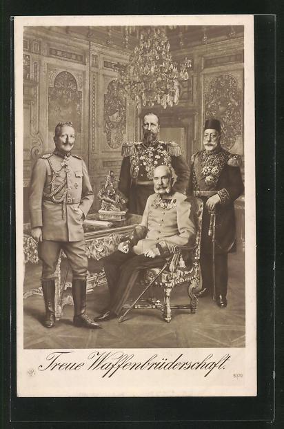 AK Kaiser Franz Josef I. von Österreich, Mehmed V. der Türkei und Kaiser Wilhelm II.